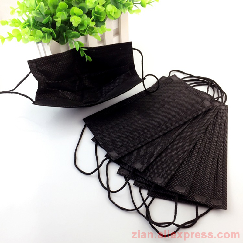 50Pcs Disposable Medical Dust Mask Black Mouth Surgical Face Mask Bacterial Filter Respirator Masks For Personal Medical