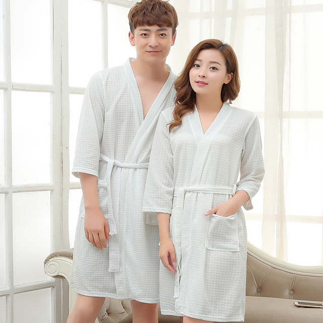 2dbce1cff3 Tony Candice Couples Bathrobes Waffle Towel Material Women Robe Dress Men  Three Quarter bathrobe V-Neck kimono Lovers Nightgowns