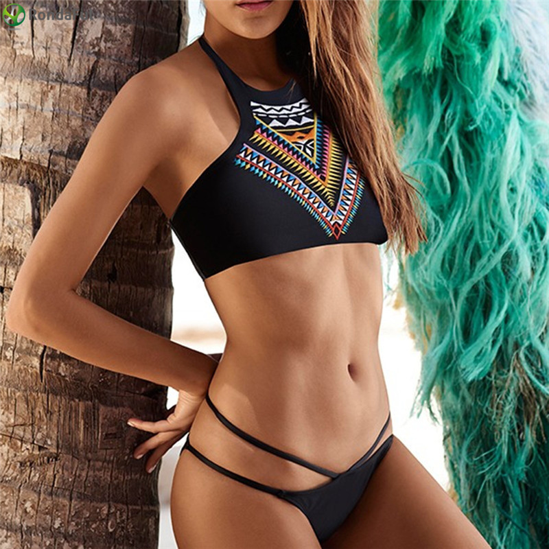 Sexy Women Bikini жиынтығы Triangle Bra Жоғары мойын Басып шығару Бикини Bikinis Crop Top Swimwear Bathing Suits 1sets maillot de bain femme