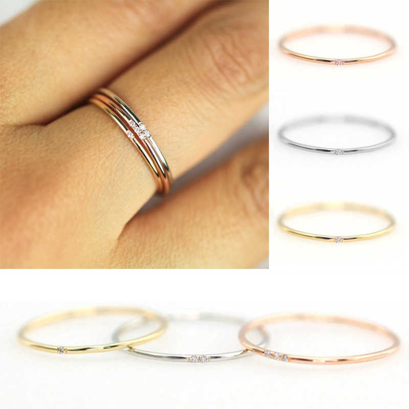 Female Thin Rings One Two Three Stone Rose Gold Silver Dainty Wedding Engagement Minimalist Rings For Women Jewelry Accessories