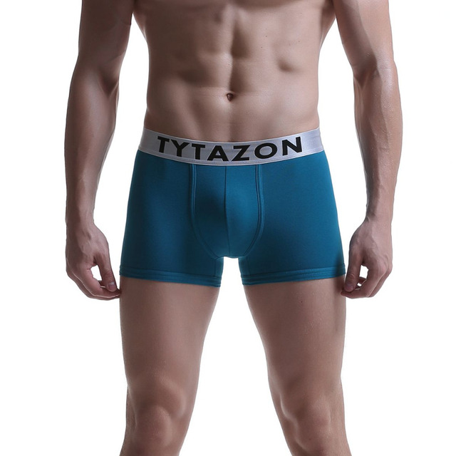 6b37d09477f4 TYTAZON Mens Underwear Central logo Cotton Slim Fit Boxer Trunks Shorts  Legs Hemming Design Tagless No Ride up with Fly White