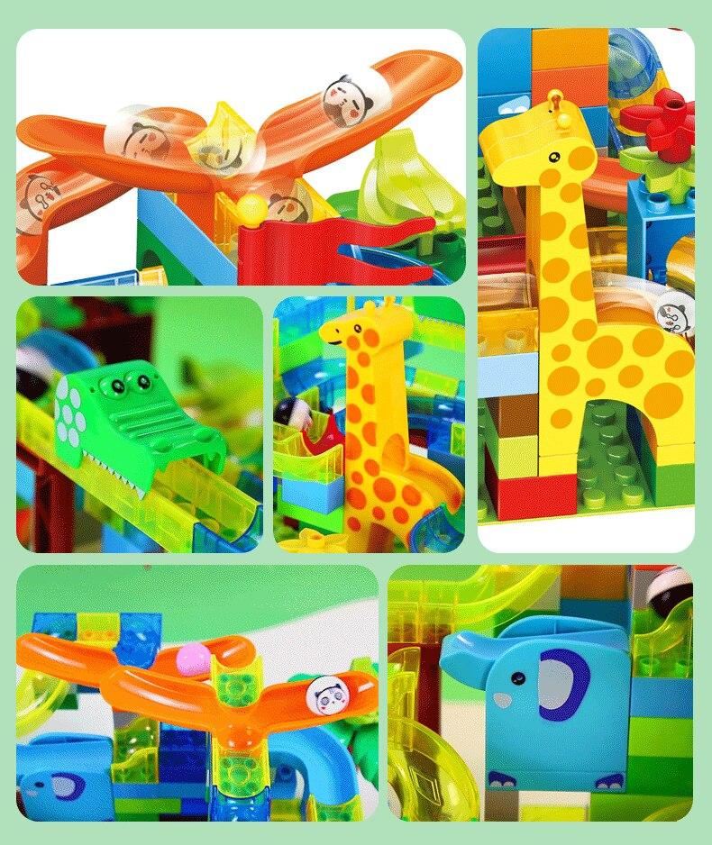 168 pçs mármore corrida labirinto bola slide pista cidade blocos de construção plástico crianças educacionais montar brinquedos para crianças presentes 4