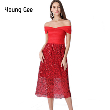 Young Gee Sexy Slash Neck Bandage Blingbling Sequined Dress Women Summer New Party Red Beige Black High Stretchy Midi Dresses