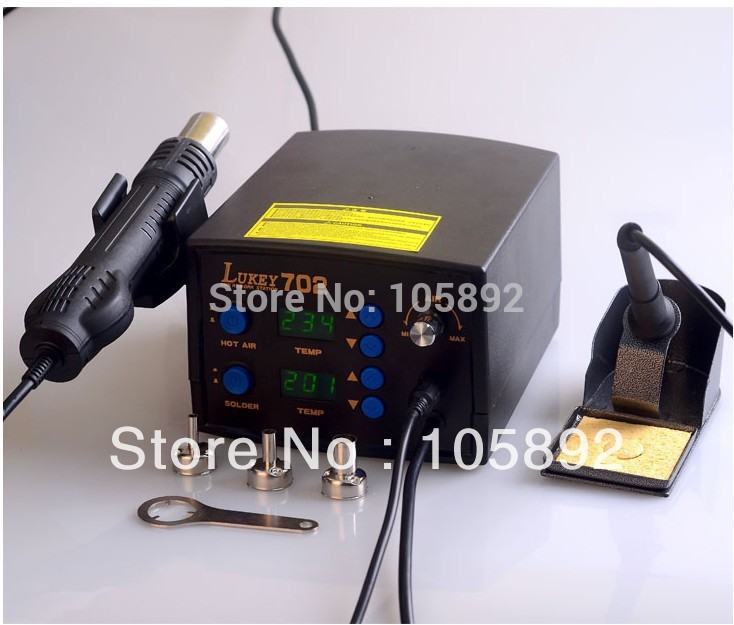 Lukey 702 Temperature Digital Display Hot Air Gun Iron Station With 3pcs Nozzle Free