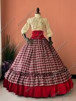 Гражданская война Викторианский 3 шт. бальное платье Reaction маскарадный тартан платье Женский костюм на Хэллоуин