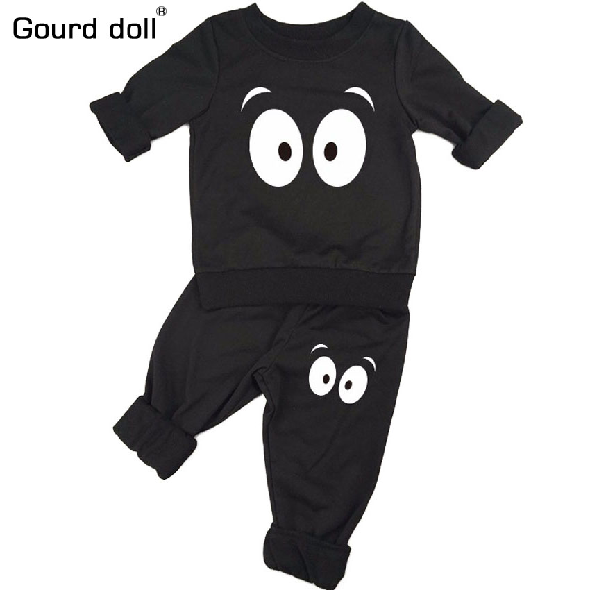 Gourd doll Baby Clothing Sets New Spring Autumn Baby Boys girls Clothes Long Sleeve T-shirt+Pants 2Pcs Suits Children Clothing 2016 spring autumn cotton fashion boys clothes 3pcs children clothing sets long sleeve t shirt vest casual pants outfits b235
