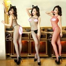 Lingerie Sexy Bodysuit Quente Rendas Tentação Oco Net Pano de Malha de Compensação Bodystocking Erotic Lingerie Costume Mulheres Produtos Do Sexo