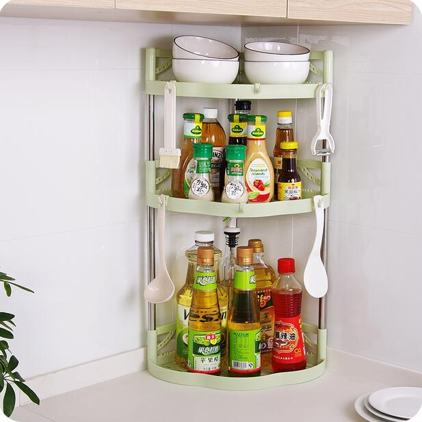 Organisateur de salle de bain en plastique Triangle coin étagère cuisine stockage épice Rack