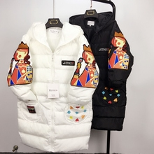Winter Woman Cotton padded Coat Personality Poker Queen Cartoon Embroidery Cotton Down Jacket Thick Female Wadded
