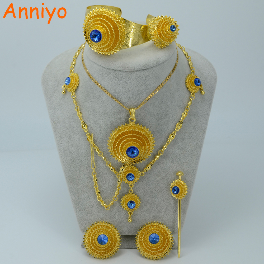 Anniyo Ethiopian Gold Color Jewelry Set Blue Stone Habesha Bride Wedding Eritrea Forehead Chain Africa Women Fashion #000717