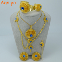 Anniyo Ethiopian Gold Color Jewelry Set Blue Stone Habesha Bride Wedding Eritrea Forehead Chain Africa Women Fashion #000717