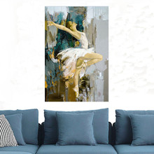 Modern Oil Painted Wall Art Pictures, Hand Painted on Canvas Of Ballet Girl Dancer.