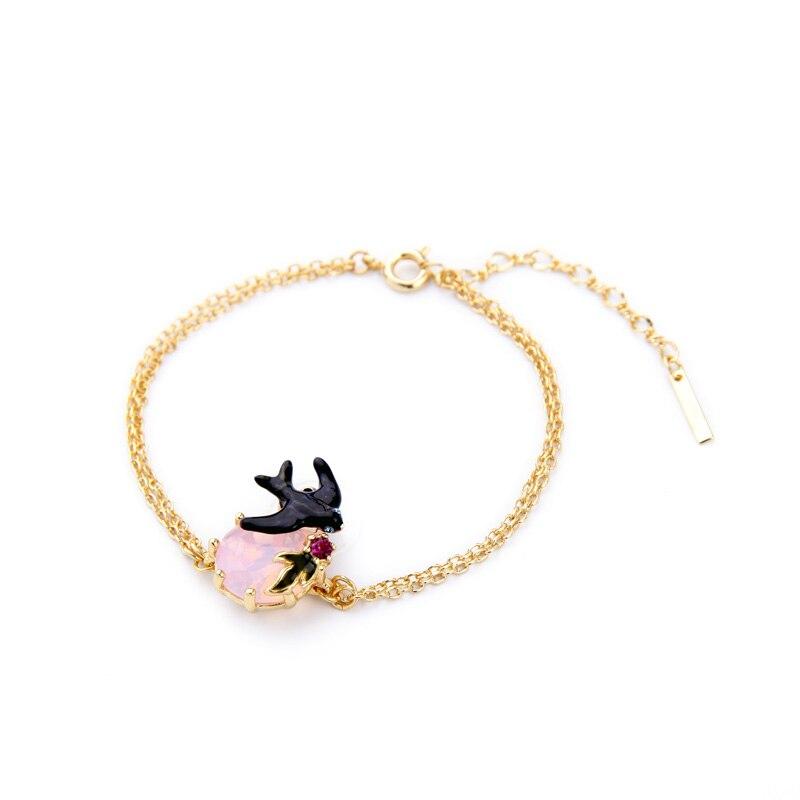 Gold Color Chain Enamel Black Swallow Charm Bracelet 2016 New Fashion Jewelry Brilliant Birthday Gift