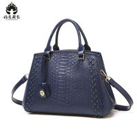 Brand 2018 New Fashion Casual Glossy Alligator Totes Large Capacity Ladies Simple Shopping Handbag Genuine Leather