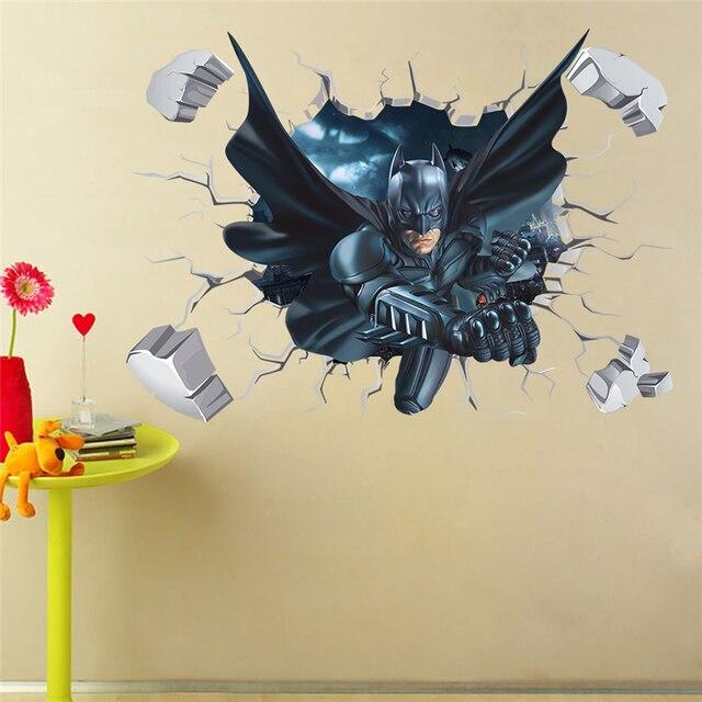 batman cracked wall effect decal sticker home decor art mural super
