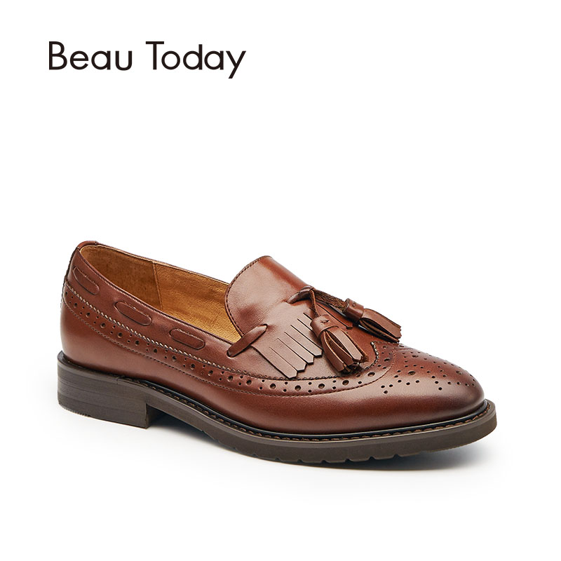 BeauToday Loafers Women Brogue Style Genuine Cow Leather Brand Fringe Round Toe Slip-On Lady Flats Good Quality Handmade 21046 2016 natural bamboo wood wristwatch japan quartz movement 2035 army nylon fabric strap new fashion wood watch with nylon band