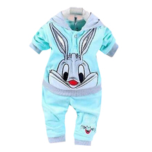 Spring and autumn season childrens suit cartoon printing 0-2 year old girls clothes sleeved long cap fashion plus velv