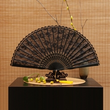 Vintage Chinese Bamboo and Lace Folding Hand Fan