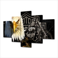 5 Panel Large HD Printed Painting Eagles Motorcycle Retro American Black And White Home Decor Canvas