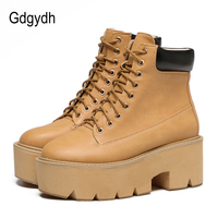 Gdgydh 2018 Autumn Ankle Boots Women Lace Up Leather Booties Shoes High Heels Rubber Sole Black Ladies Shoes Platform Thick Heel