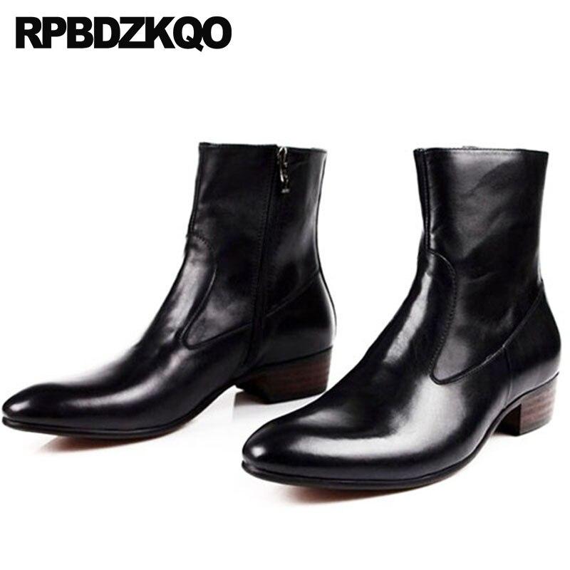 Kurze Stiefel Spitz Schwarz Größe Knöchel Handmade Zipper Mens Booties Kleid Leder Schuhe Business Full Formales brown Schwarzes Grain Plus Chunky z0q8TTFw