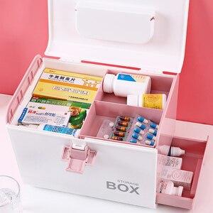 Image 2 - בית ערכת העזרה הראשונה רפואת תיבת אחסון קופסא פלסטיק מיכל חירום ערכת נייד רב שכבתי קיבולת גדולה רפואה חזה