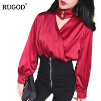RUGOD Solid Cross Halter Women S Fashion Blouses New V Neck Lantern Sleeve Women Shirts 2018