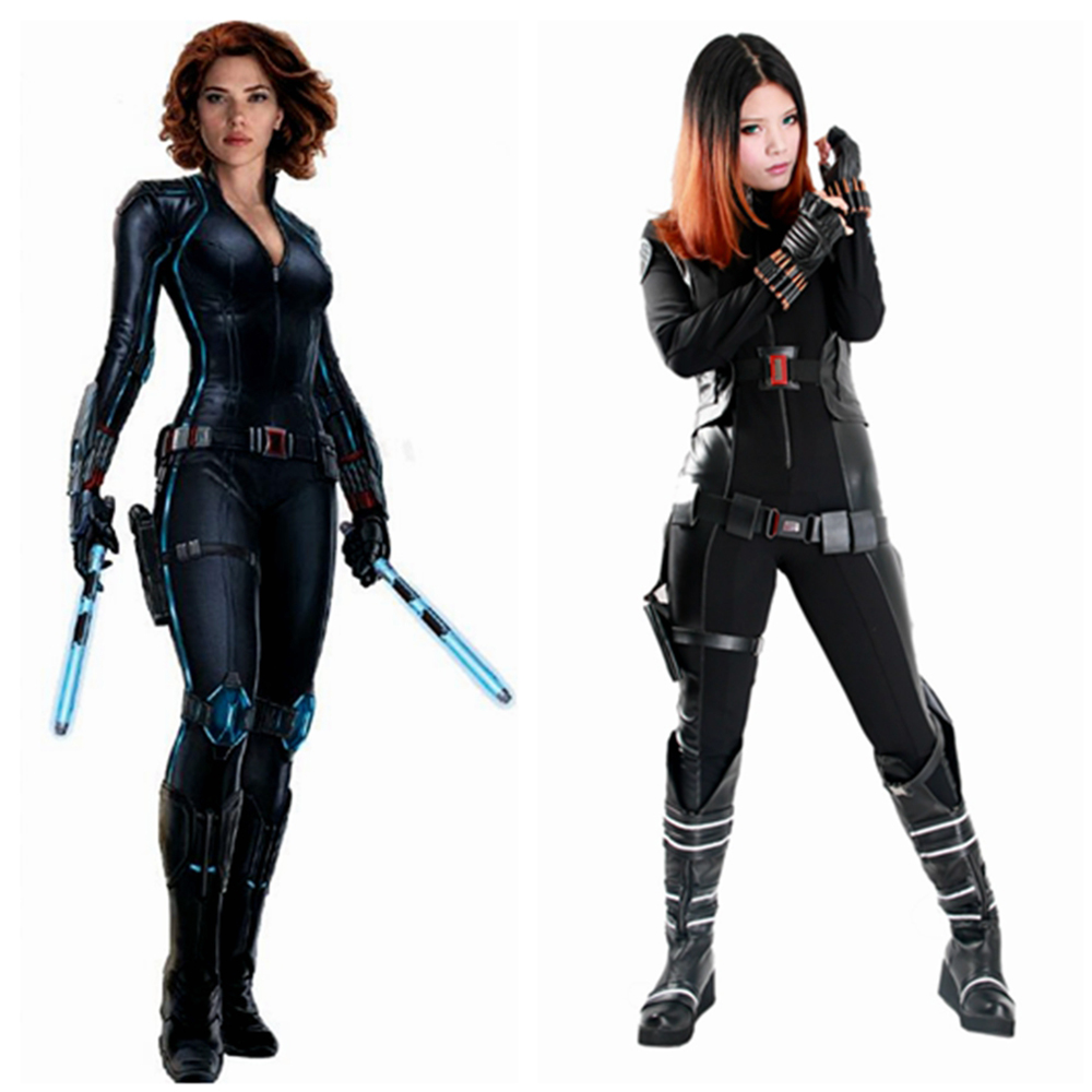 X-COSTUME Movie Captain America 2 Black Widow Cosplay Costume Women Cool Jumpsuits Bodysuit + Belt + Bag + Gloves + Bracers Set