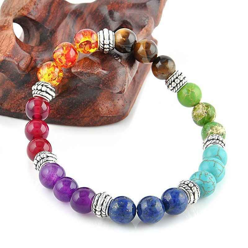 Newst 7 Chakra Bracelet Men Colorful Healing Balance Beads Reiki Buddha Prayer Natural Stone Yoga Bracelet For Women