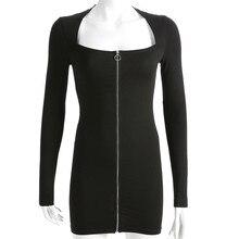 Fashion Women Sexy Square Neck dress Zipper Bodycon Tight buttocks Mini Dress Spring autumn winter skinny Solid Cotton dress #XS