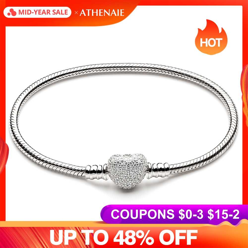 e99acf2bd ATHENAIE 925 Sterling Silver Snake Chain With Pave Clear CZ Heart Clasp  Bracelet Fit All European