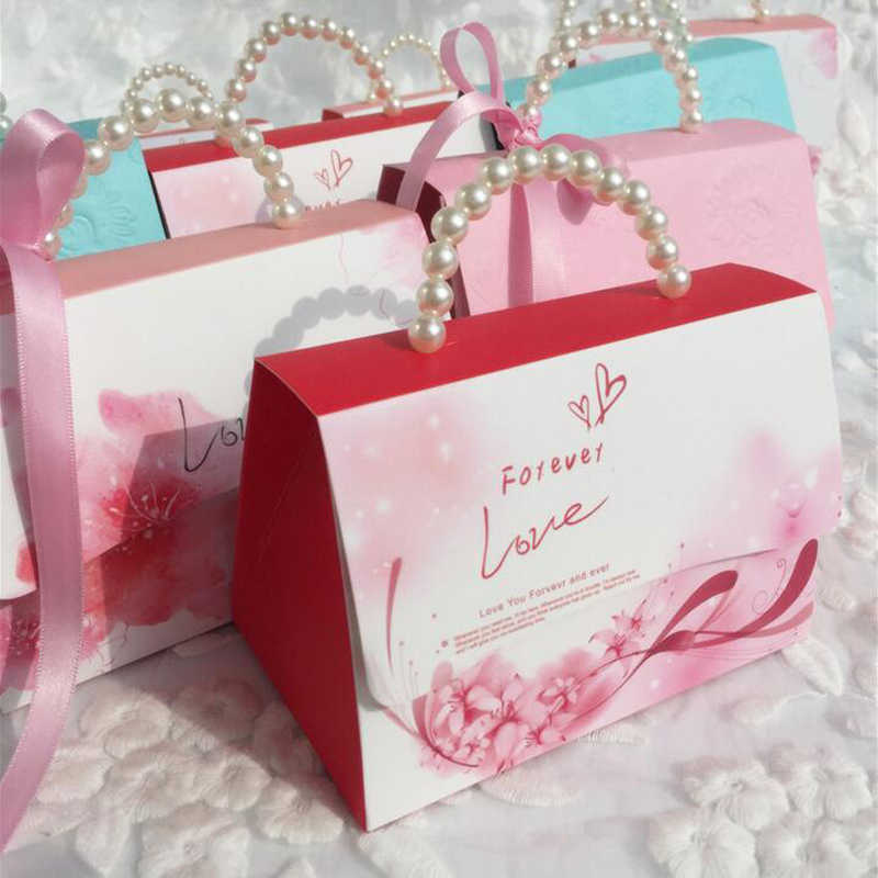 YOURANWISH Portable Party Wedding Favor Candy Boxes Baby Shower Gift Bag DIY creative candy box Romantic mariage 10pcs/lot