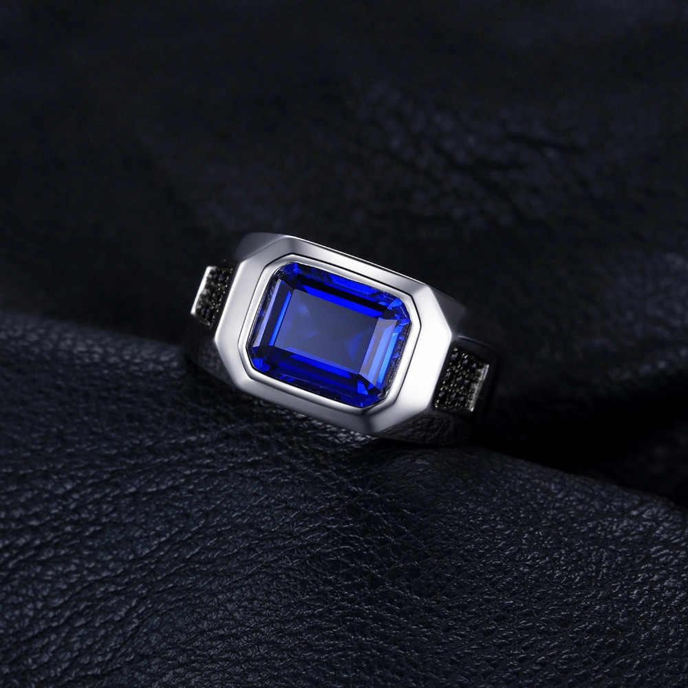 Bijoux 4.3ct noir spinelle créé saphir bague 925 en argent Sterling anneaux pour hommes anneaux de mariage argent 925 pierres précieuses bijoux