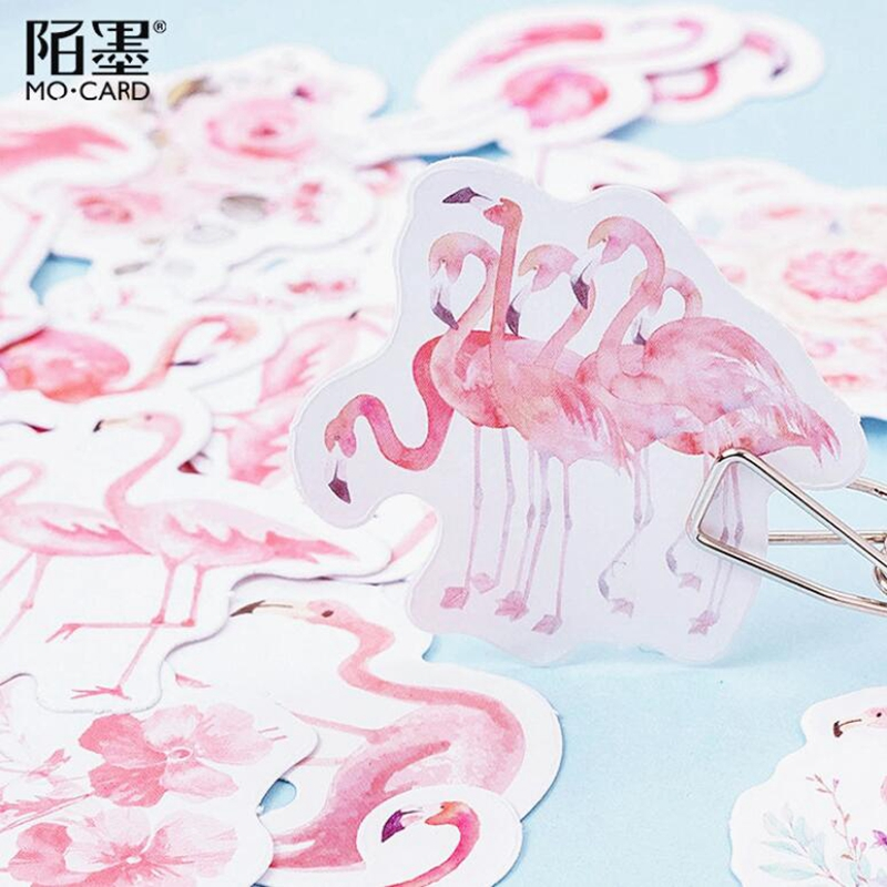 45pcs pink flamingo paper decor diy diary scrapbooking label sticker LJBDKN