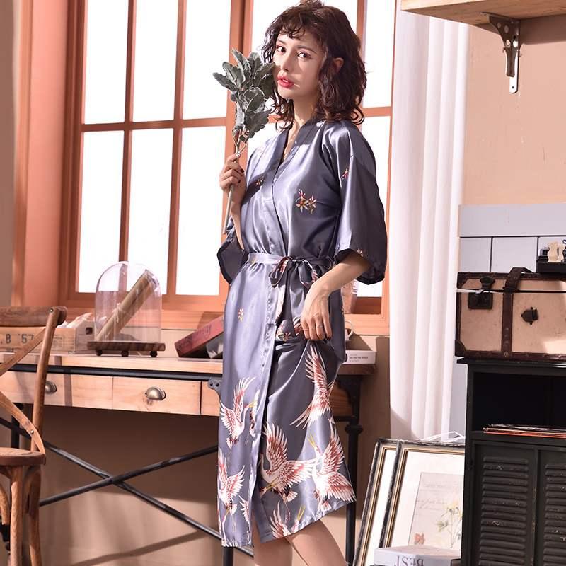 X Long Crane Print Size XL Sleep Lounge Nightgowns & Sleepshirt Sleepwear Night Dress Nightwear Women Sexy Loose Indoor Dress-in Nightgowns & Sleepshirts from Underwear & Sleepwears