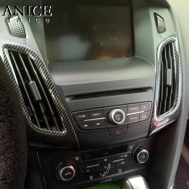 For Ford Focus Mk3 2012 2014 Carbon Fiber Color Abs Interior Dashboard Air Conditioner Vent Trim 2pcs