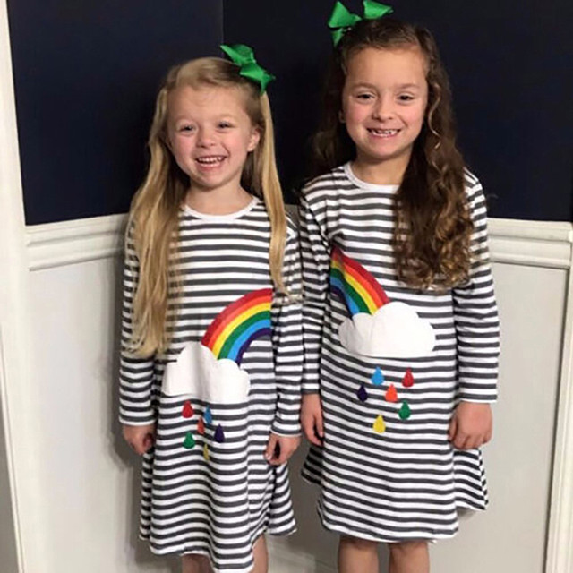 Import List: Fashion children dresses for girls baby girl clothes striped Rainbow print party dress dresses