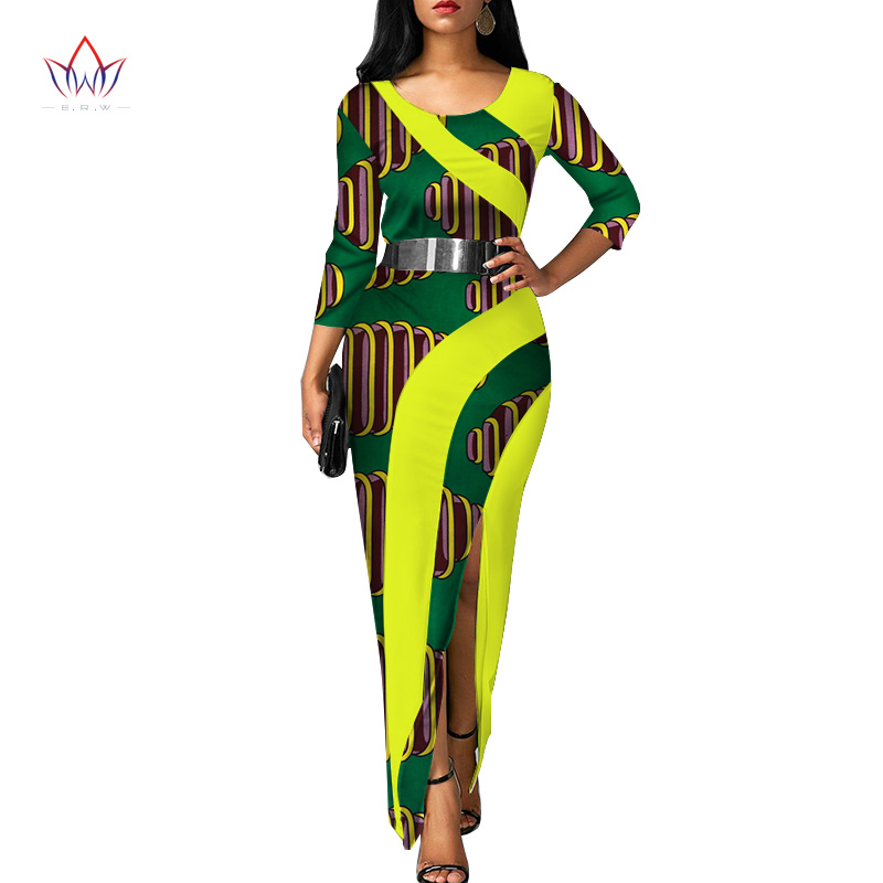 Vestidos African Women Dresses 2018 New Fashion Elegant African Clothing Dashiki Plus Size Sexy Party Dress WY3120
