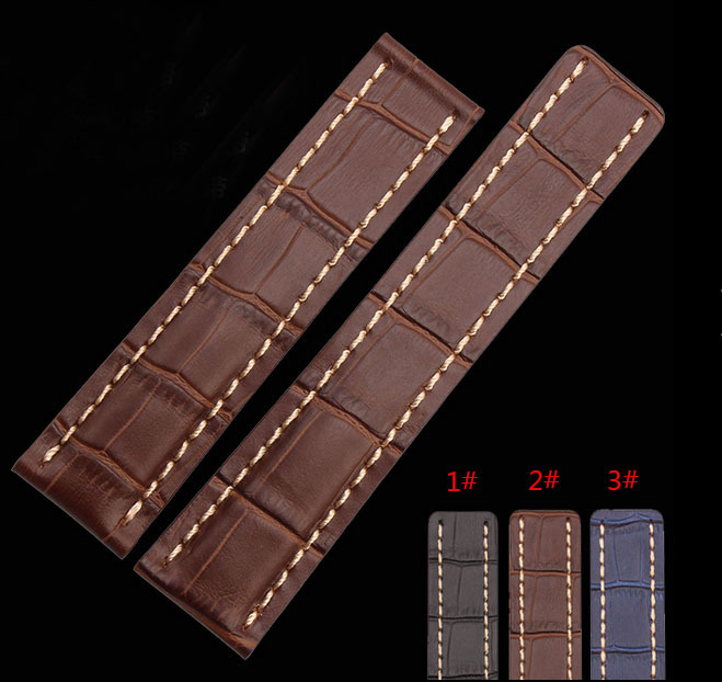 Watch band 22mm 24mm New Mens Top Grade quality Blue Brown Black Crocodile Pattern Genuine Leather Watch Strap Bracelets new fashion replace watch band 22mm 24mm mens womens dark blue 100% genuine crocodile grain leather watch strap band bracelets