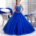 Glitz Vestidos de Communion Beading Crystal Open Back Halter Sleeveless Ruffles Little Princess Christmas Royal Blue Ball Gowns