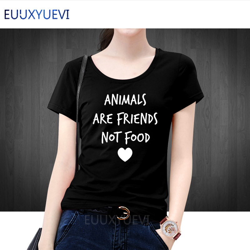 ANIMALS ARE FRIENDS not food Letters Print Women tshirt Cotton Casual Funny t shirts For Lady Top Tee Hipster Drop Ship euu-386