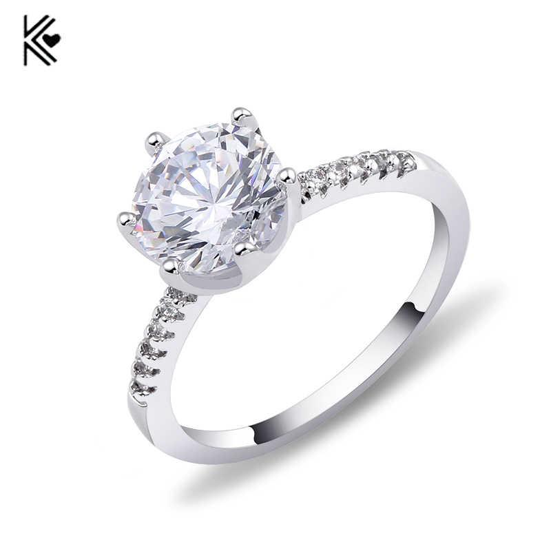 ผู้หญิงสีขาวแหวนทองคำขาว AAA Zircon แหวนแหวนแฟชั่นผู้หญิงวันเกิดหินเครื่องประดับวาเลนไทน์วัน