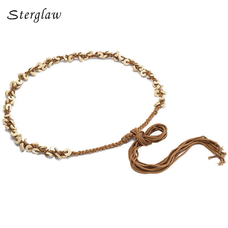 2018 Hot New Fabric Women Adult Braided Woman Belts Fashion Woven Rope Cotton Wood Buckle Style Designer Belt Chain B058