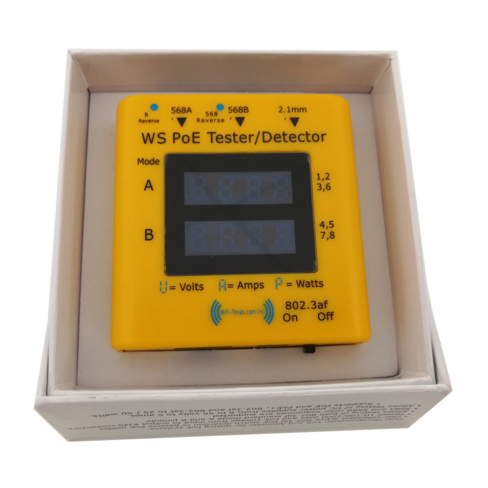 Inline tester for power over ethernet display from 20v to 56v actively used power in 802