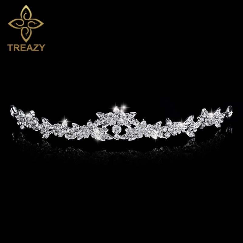 TREAZY Elegante Sparkling de Cristal Rhinestone Da Tiara Da Coroa do Casamento Tiara De Noiva Baile de casamento Cocar de Noiva Acessórios Para o Cabelo