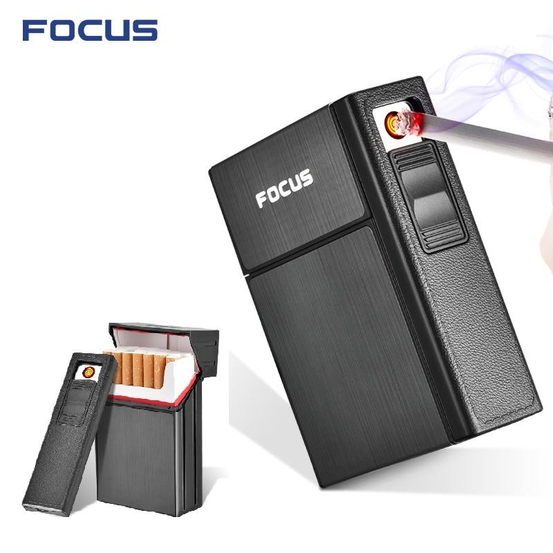 A ESTRENAR desmontable caso encendedor de cigarrillos con metal portátil titular caso de cigarrillos encendedor electrónico antorcha Jet encendedores