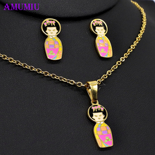 hot deal buy amumiu kimono japanese doll necklaces pendants jewelry sets big and small necklace earrings set woman/child short hair js080