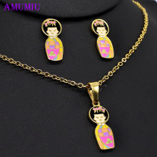 AMUMIU kimono Japanese doll necklaces pendants Jewelry sets big and small Necklace Earrings Set Woman/Child short hair JS080(China)