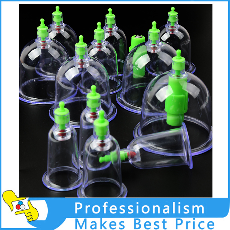 12 Vacuum Cupping Cups Acupuncture Set Chinese Medical Magnetic Therapy Suction 12pcs cups 6pcs magnetic needle extension tube pump chinese modern vacuum healthy cupping set massage therapy suction apparatus