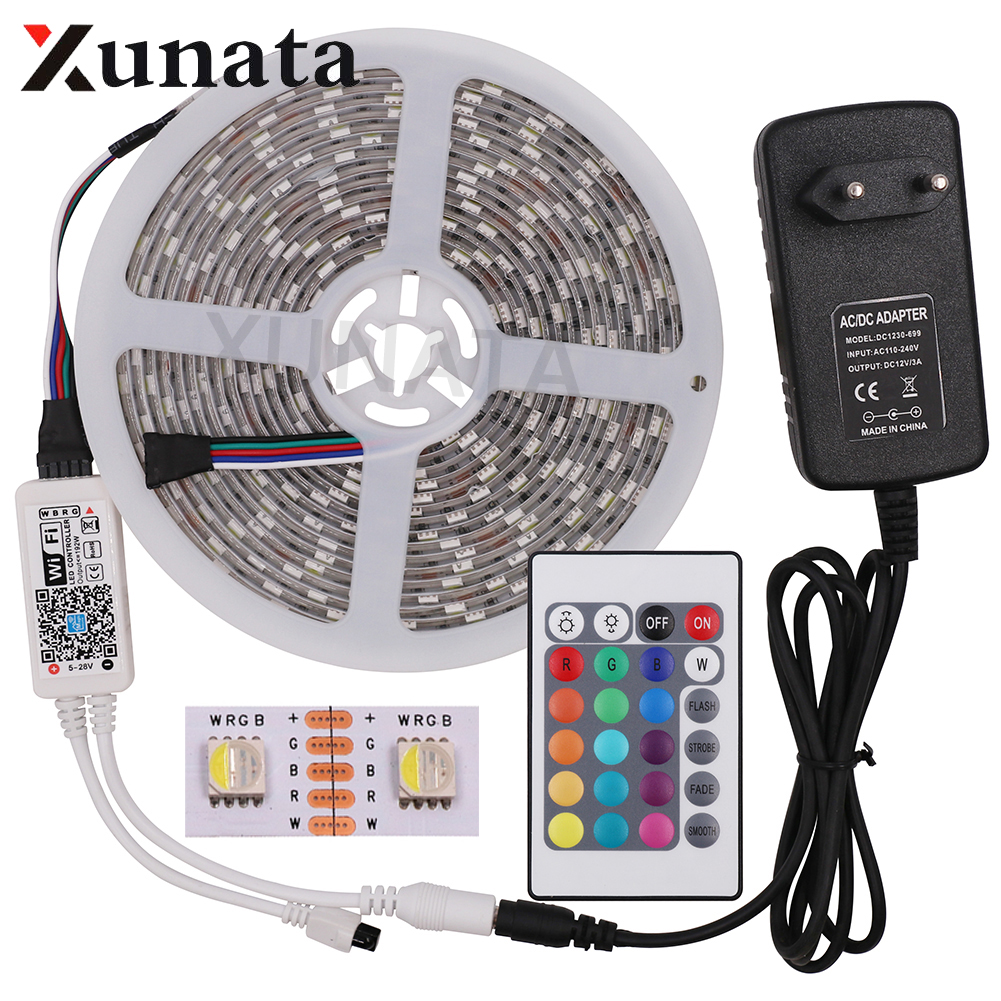 цена на DC12V 5M 5050 RGB WIFI LED Strip Light Waterproof 60Led/m 4 In 1 Led RGBW RGBWW Led Strip Remote Controller Power Supply Kit